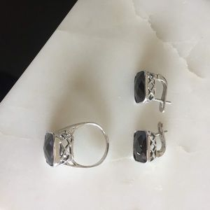 STERLING SILVER jewelry set ring earrings black